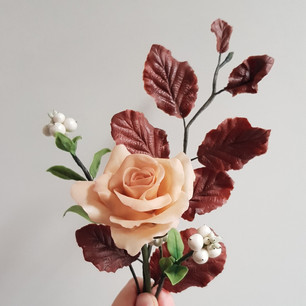 Julia's rose, copper beech and snowberries