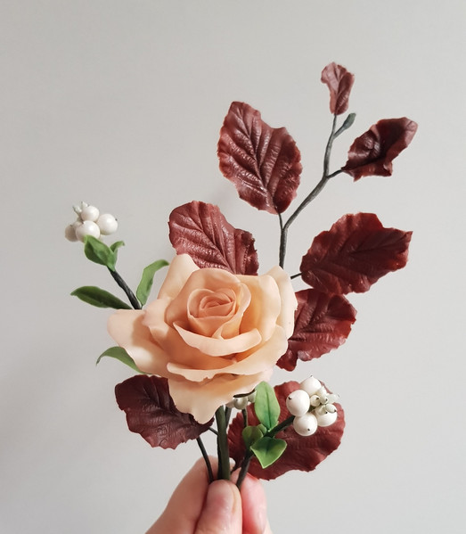 Hand crafted Julia's rose, copper beech and snowberries