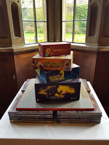 Stacked board games wedding cake