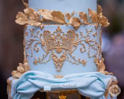 Blue and gold baroque piping