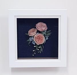Medium wedding bouquet recreation with David Austin roses, hydrangea, delphinium buds and eucalyptus.