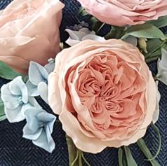 Juliet rose and blue hydrangea
