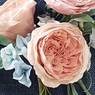 Juliet David Ausrin rose, blue hydrangea, delphinium buds and eucalyptus