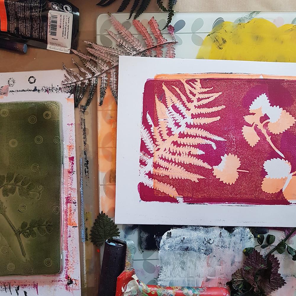 gelliprinting, home made gelli plate, fern print