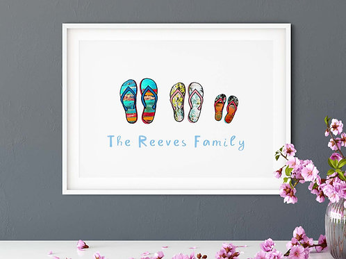 Personalised Family Flip Flop Giclee Print / family name print / xmas gift