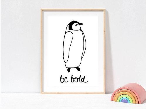 Penguin black and white print