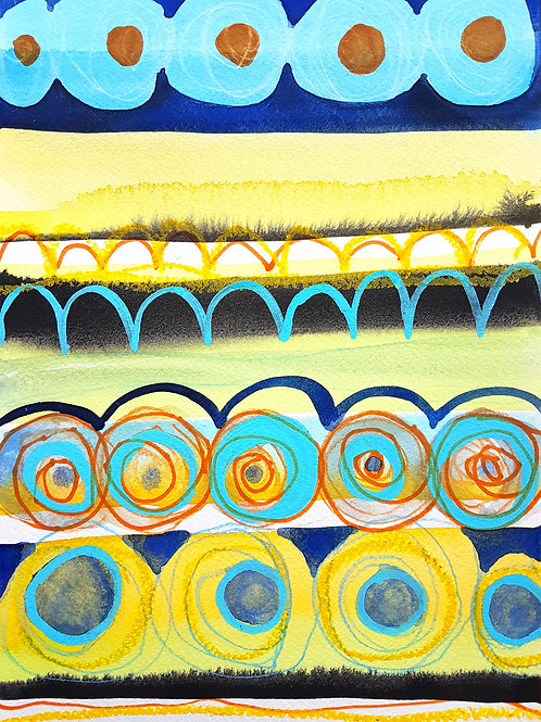 Circles Landscape Watercolour Painting on Paper by Suzie Cumming