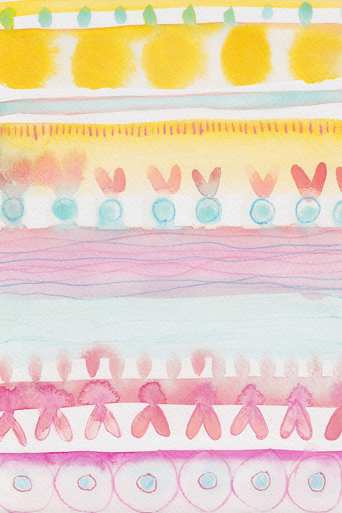 Beach Stripes Original Watercolour Artwork by Suzie Cumming