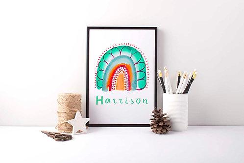Customised Child's Name Print / kids room decor / rainbow scandi print