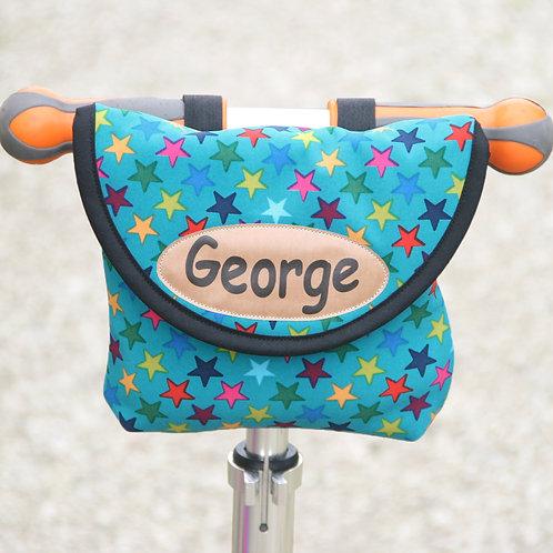 Personalised Child's Blue Stars Handlebar Bag