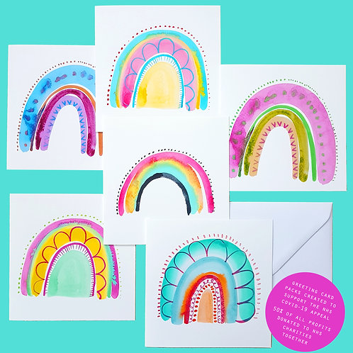 Rainbows Greeting Card Set - Pack of 6 rainbow art cards - NHS fundraiser