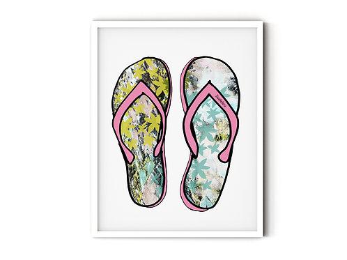 Pink Beach Sandals Art Print