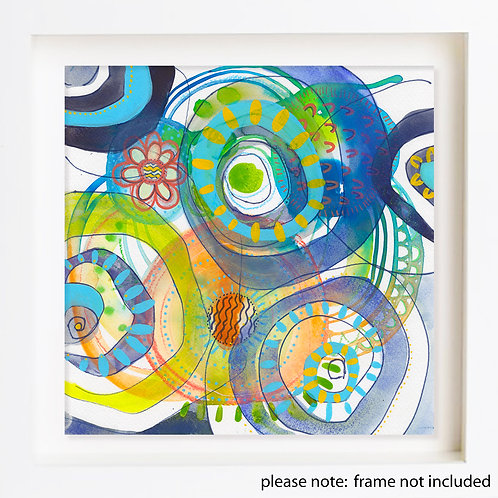 Blue Spirals Watercolour Painting on Paper by Suzie Cumming