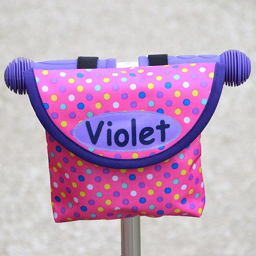 Personalised Child's Pink Spotty Handlebar Bag