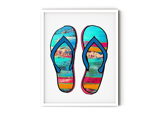 Blue Beach Sandals Art Print