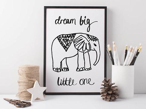 Dream Big Elephant Print for Nursery