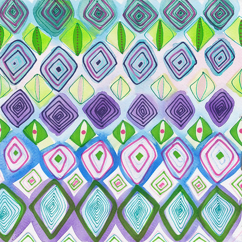 Diamond Jewels Watercolour Painting on Paper by Suzie Cumming