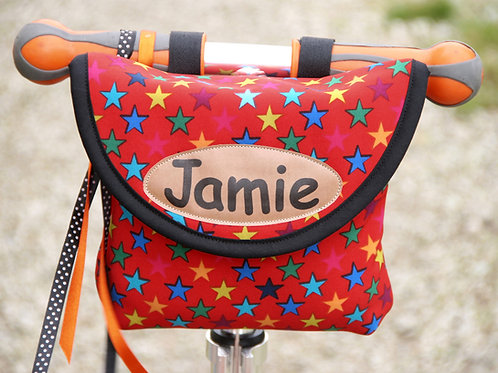 Personalised Child's Red Stars Handlebar Bag