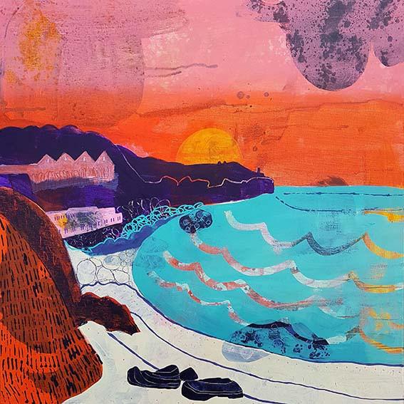 cornish beach painting, beach art, Suzie Cumming Art