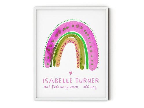 Baby Name Print /Newborn Gift/ Rainbow Nursery Print / Birth Poster