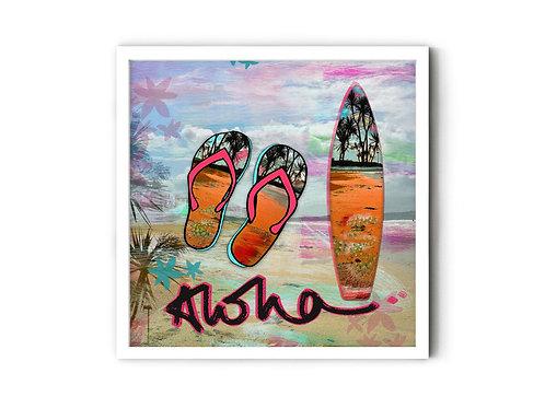 Aloha Surfboard Print