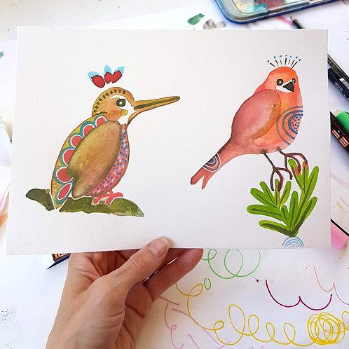 Bird Duo Watercolour by Suzie Cumming
