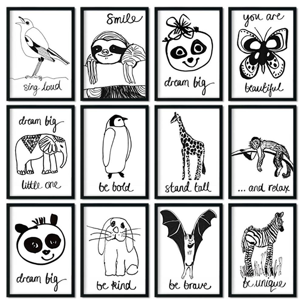 Fun animal prints for kids, wall art for the nursery.