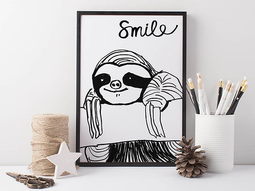 Sloth art print for nursery