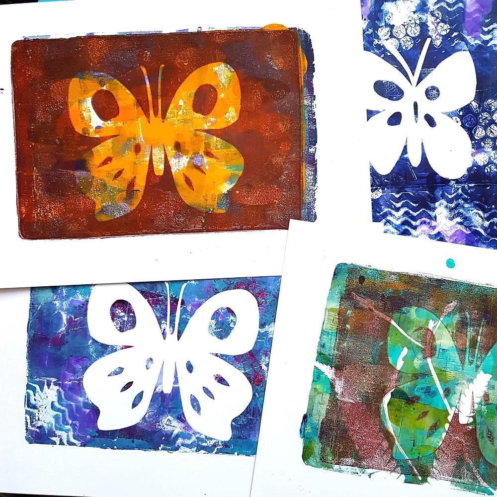 gelli printing, printing with gelli, gelli plates, butterfly art