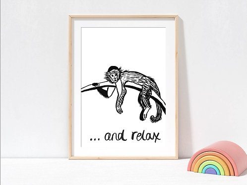 Monkey black and white print for the home by suzielou