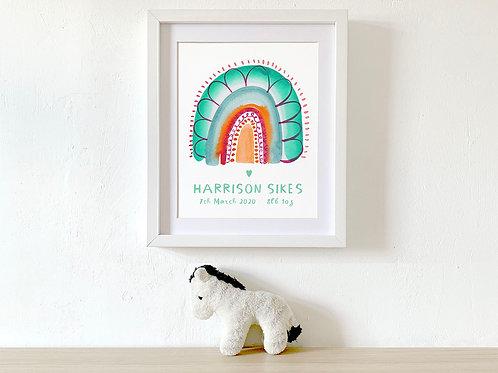 Personalised Baby Birth Details Print /Rainbow Nursery Print/ Birth Poster