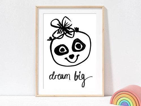Dream Big Panda Wall Art Print