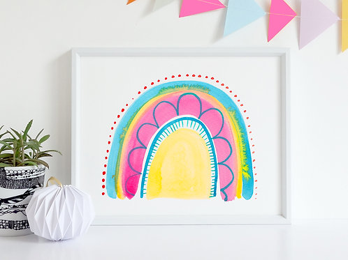 Pink and Yellow Rainbow Print / Wall art / Kids Art / Nursery Art / Kids Prints