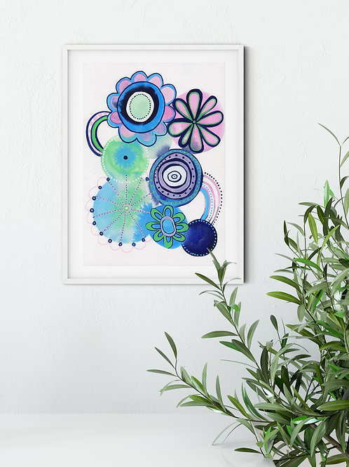 Pink and Blue Puddles Original Wall Art by Suzie Cumming