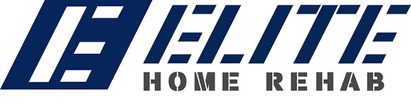The Elite Home Rehab logo. It is a wordmark that shows ELITE with HOME REHAB underneat it. There is a Large E to the left of wordmark.