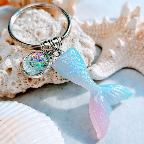 Recycled Mermaid tail keychain- Pink Taffy