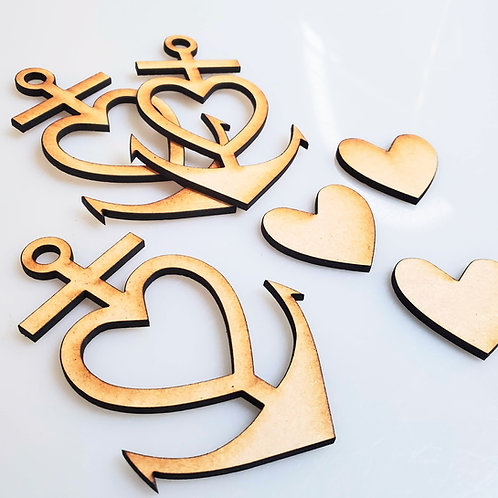 Anchor Heart Keychain set of 3 Unfinished MDF Cutout