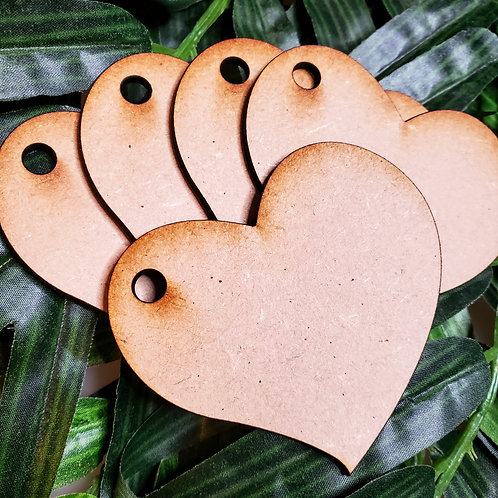 Pack of 5 Heart Keychain/Ornament Unfinished MDF Laser Cutout