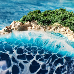 Mermaid Trash Ocean wave resin painting 3d island