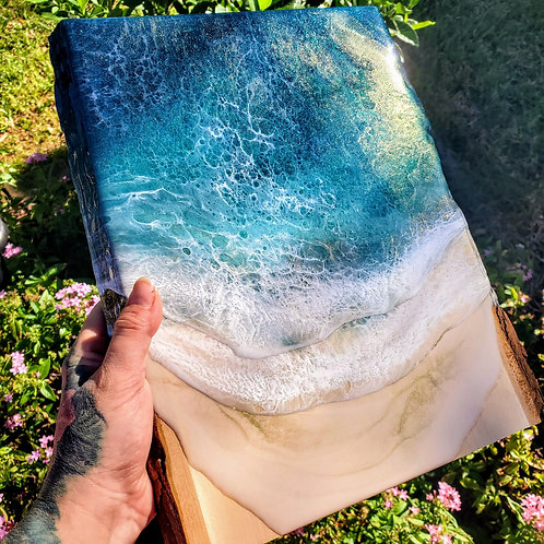 Sargassum Sea #2 Live Edge Wood Slab Ocean 13x11