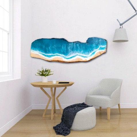Custom Live Edge Wood Slab Resin Ocean