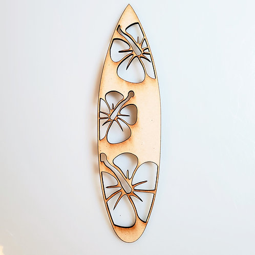 Hibiscus Surfboard Unfinished MDF Laser Cutout