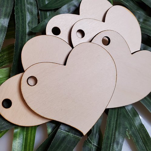 5 Heart Keychain/Ornament Unfinished Birchwood Laser Cutout