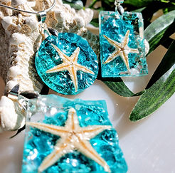 Mermaid Trash Ocean wave, starfish resin jewelry
