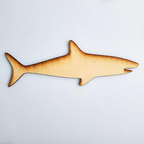 Tiger Shark Unfinished MDF Laser Cutout