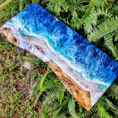 Mermaid Trash Ocean wave resin painting