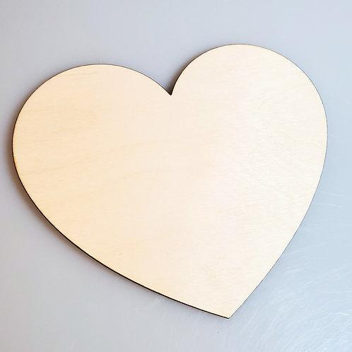 Heart Unfinished Birchwood Laser Cutout