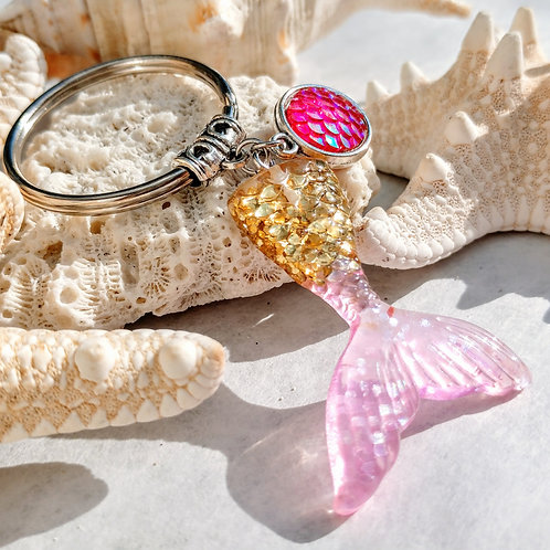 Recycled Mermaid tail keychain- Golden