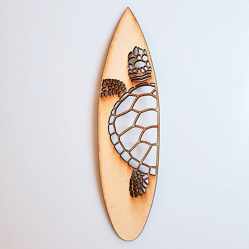 Turtle Surfboard Unfinished MDF Laser Cutout