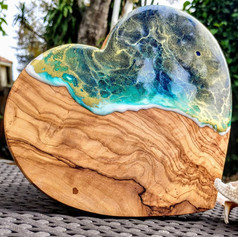 Mermaid Trash Ocean wave resin olive wood cutting board